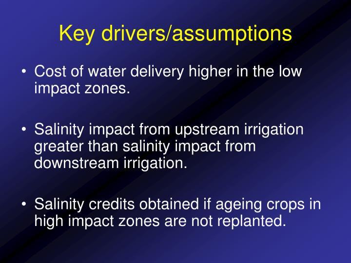 Key drivers/assumptions