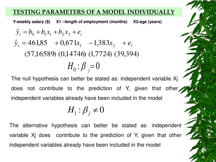 TESTING PARAMETERS OF A MODEL INDIVIDUALLY