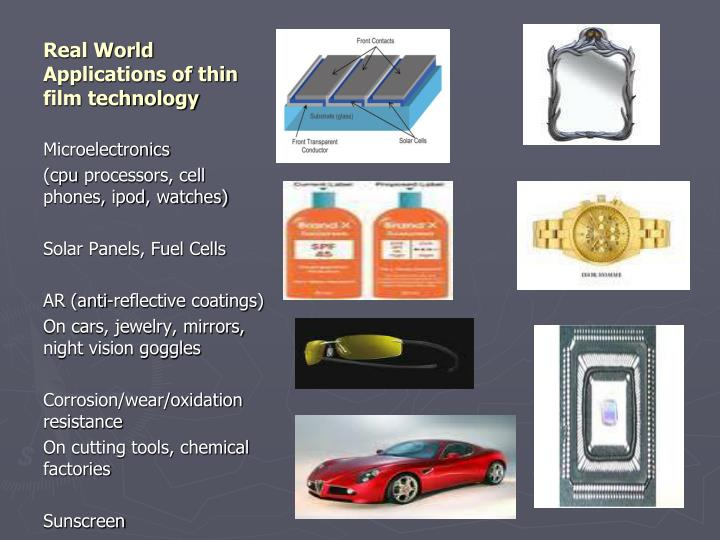 Real World Applications of thin film technology
