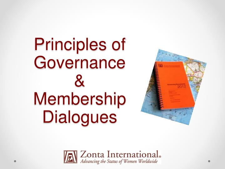 Principles of governance membership dialogues
