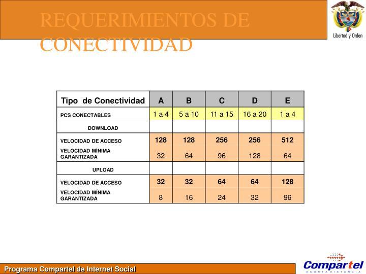 REQUERIMIENTOS DE CONECTIVIDAD