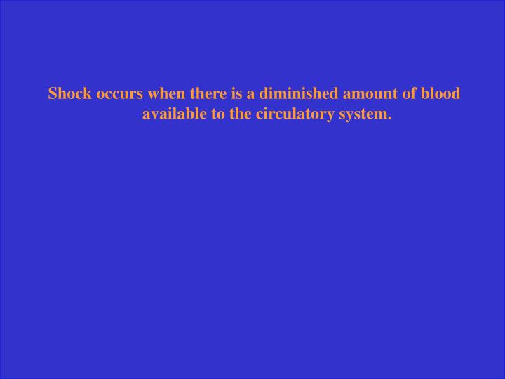 Shock occurs when there is a diminished amount of blood available to the circulatory system.