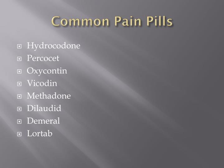Common Pain Pills