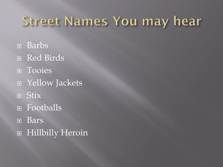 Street Names You may hear