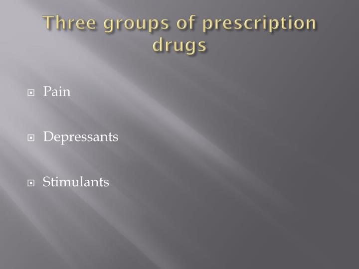 Three groups of prescription drugs
