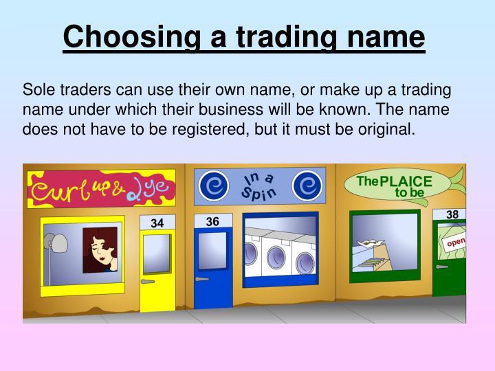 Choosing a trading name