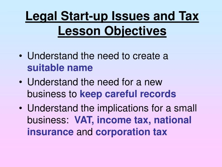Legal Start-up Issues and Tax