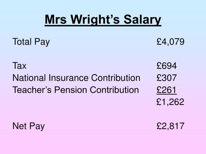 Mrs Wright's Salary