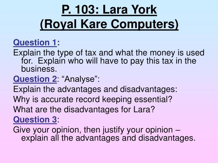 P. 103: Lara York