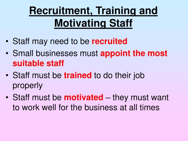 Recruitment, Training and Motivating Staff