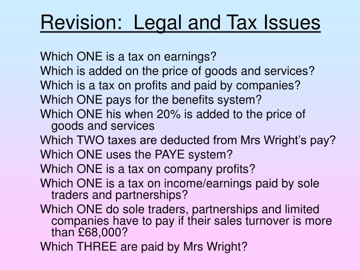 Revision:  Legal and Tax Issues