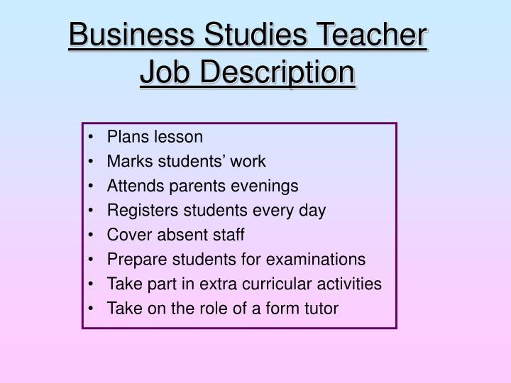 Business Studies Teacher