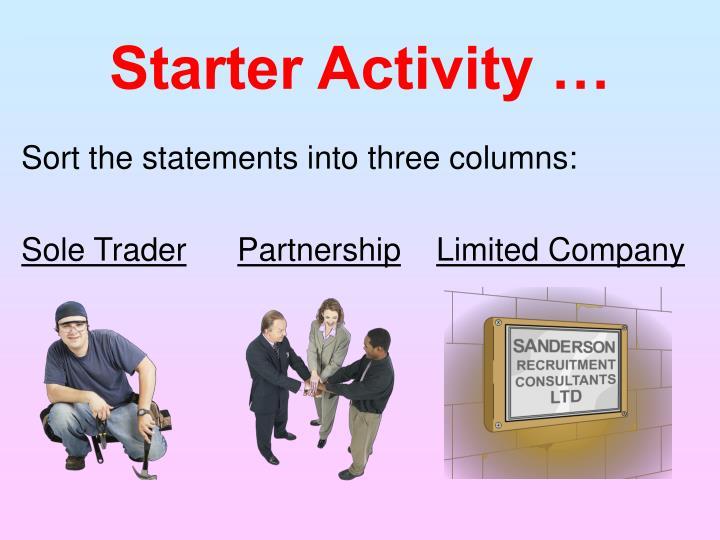 Starter Activity …
