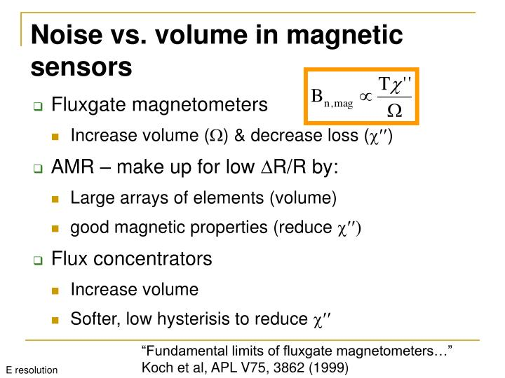 Noise vs. volume in magnetic sensors