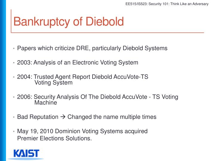 Bankruptcy of Diebold