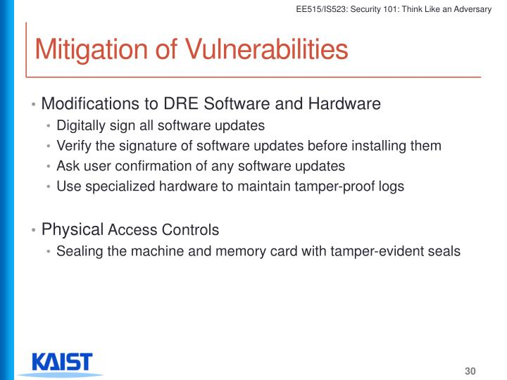 Mitigation of Vulnerabilities
