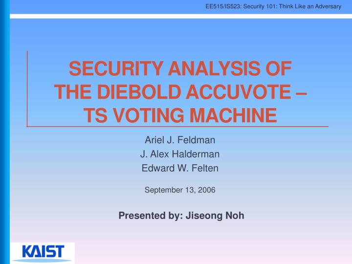SECURITY ANALYSIS OF