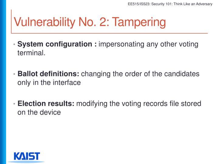 Vulnerability No. 2: