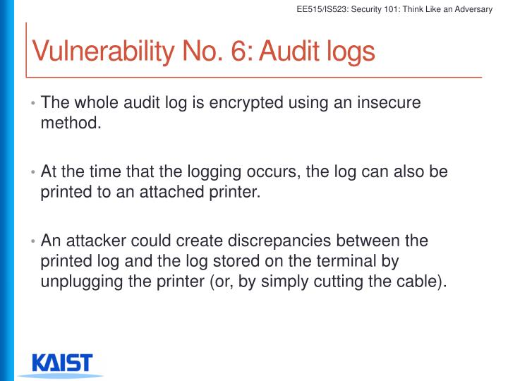Vulnerability No. 6: Audit logs