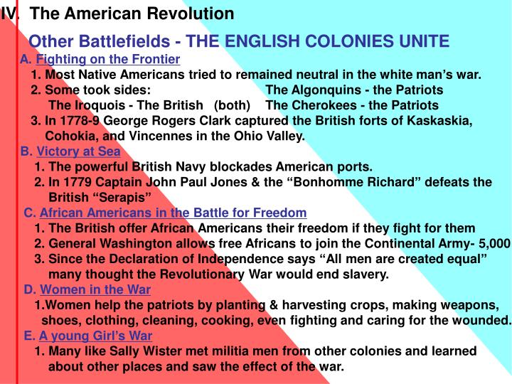 IV.  The American Revolution