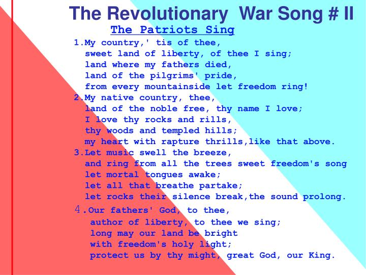 The Revolutionary  War Song # II