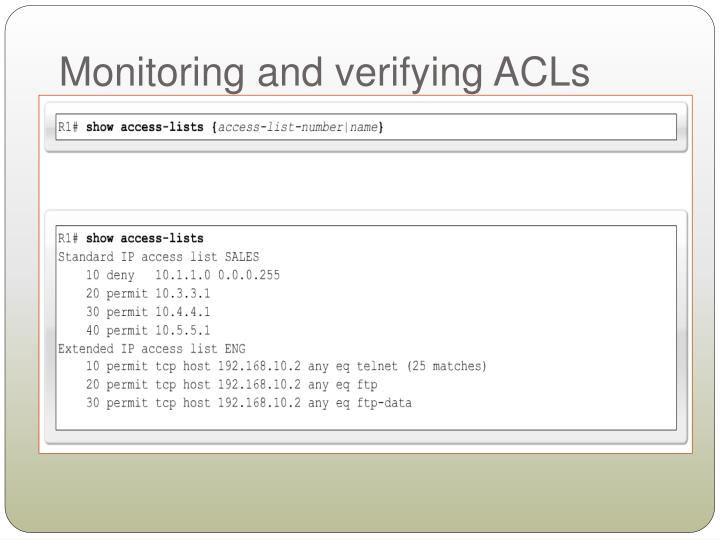Monitoring and verifying ACLs