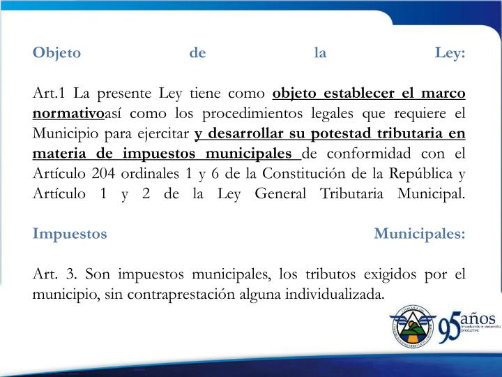 Objeto de la Ley: