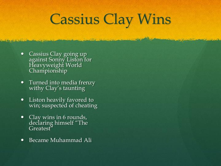 Cassius Clay Wins