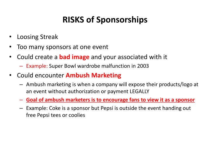 RISKS of Sponsorships
