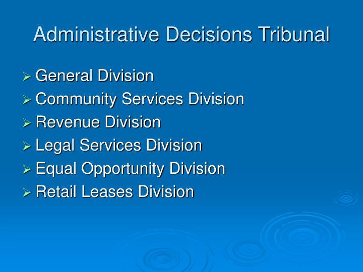 Administrative Decisions Tribunal