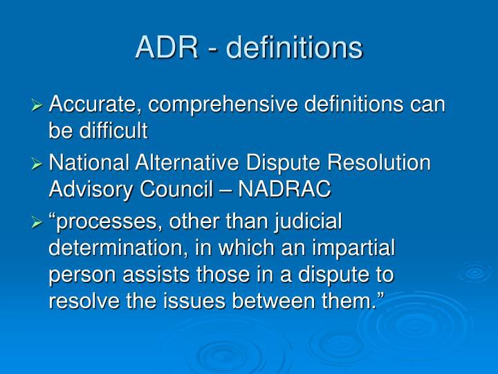 ADR - definitions