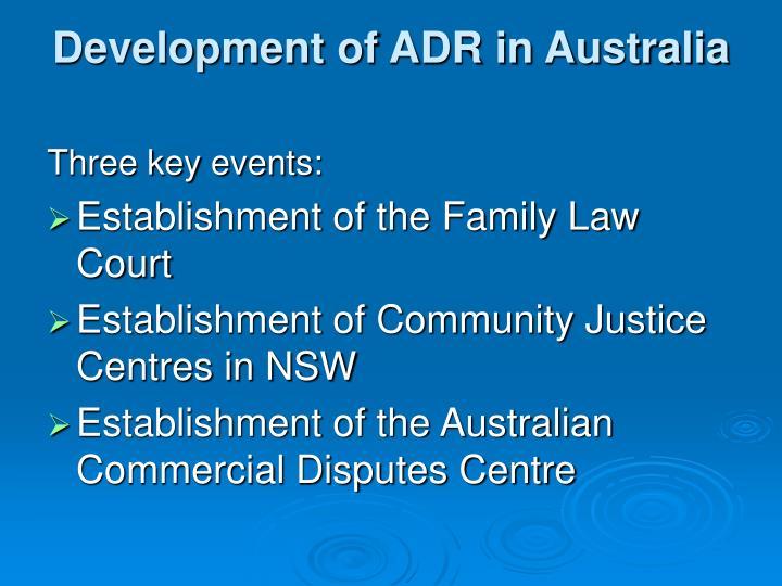 Development of ADR in Australia