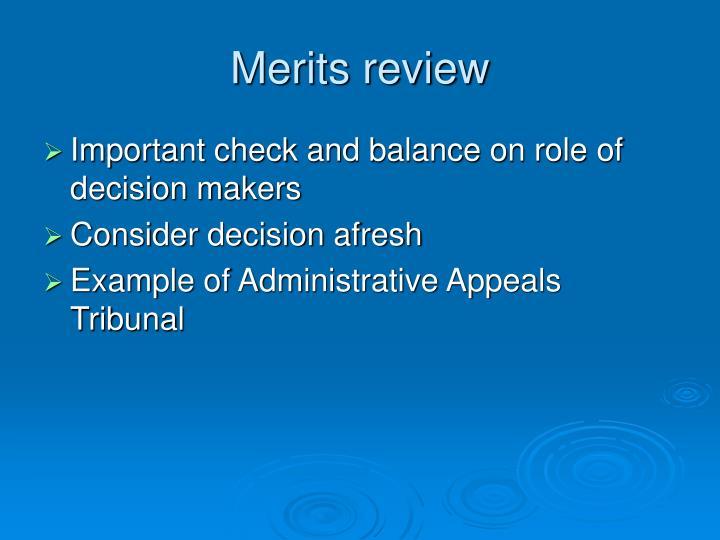 Merits review