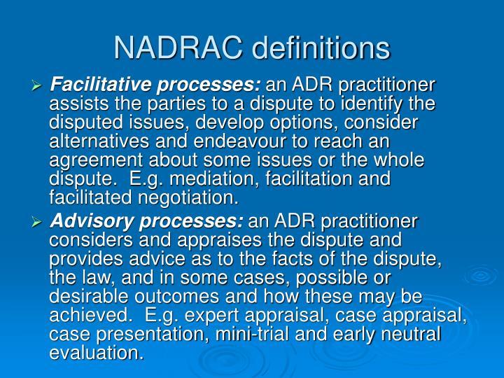 NADRAC definitions