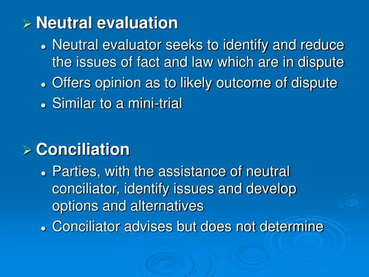 Neutral evaluation