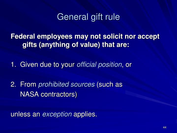 General gift rule