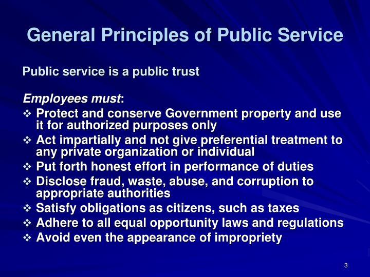 General Principles of Public Service