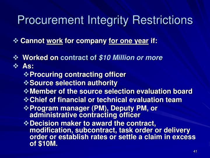 Procurement Integrity Restrictions
