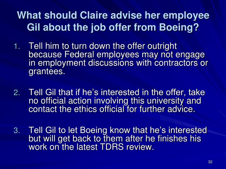What should Claire advise her employee Gil about the job offer from Boeing?
