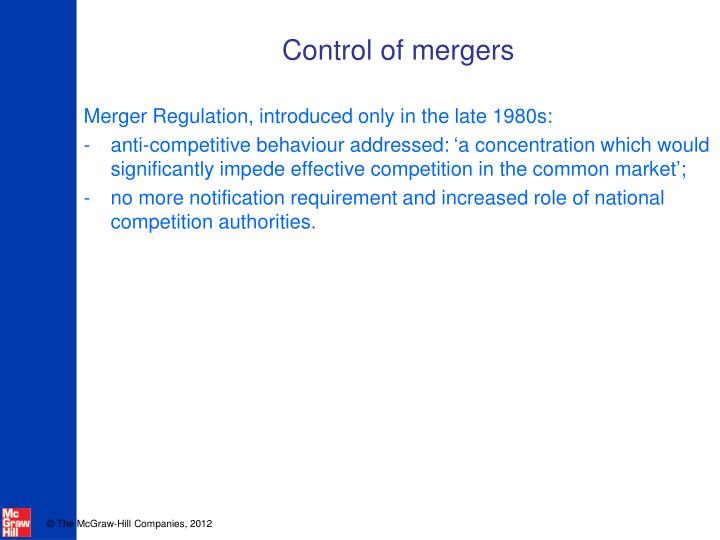 Control of mergers
