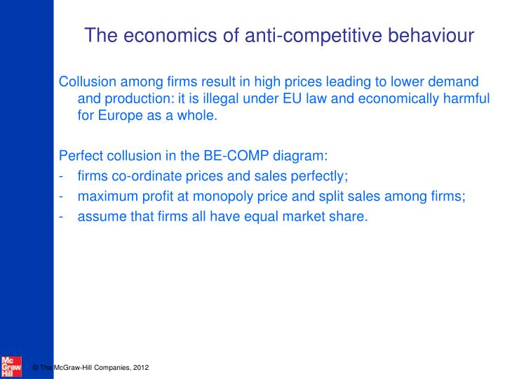 The economics of anti competitive behaviour