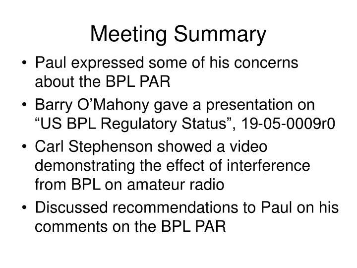 Meeting Summary