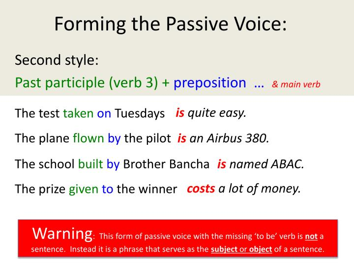 Forming the Passive Voice: