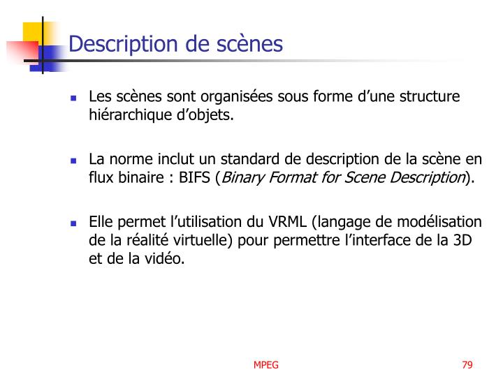 Description de scènes