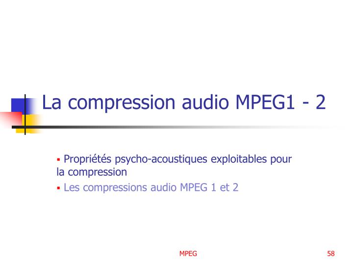 La compression audio MPEG1 - 2