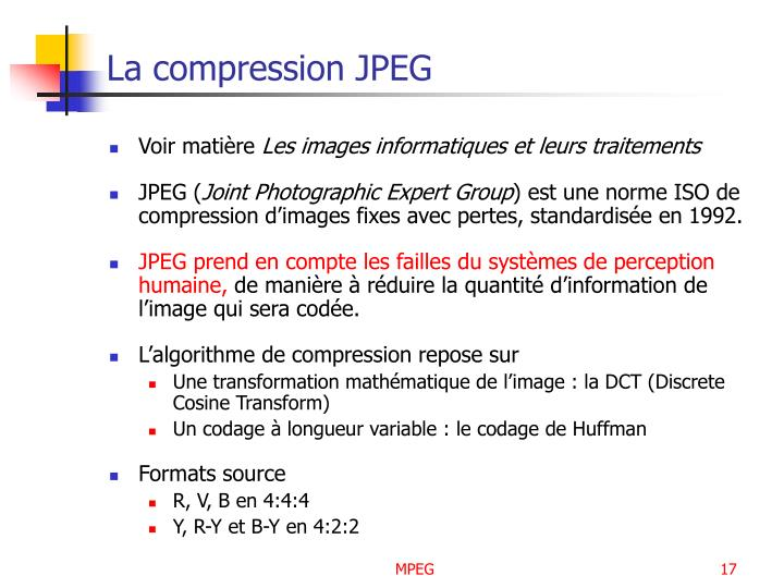 La compression JPEG