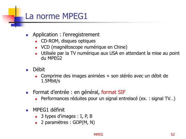 La norme MPEG1