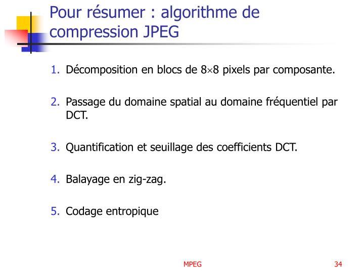 Pour résumer : algorithme de compression JPEG
