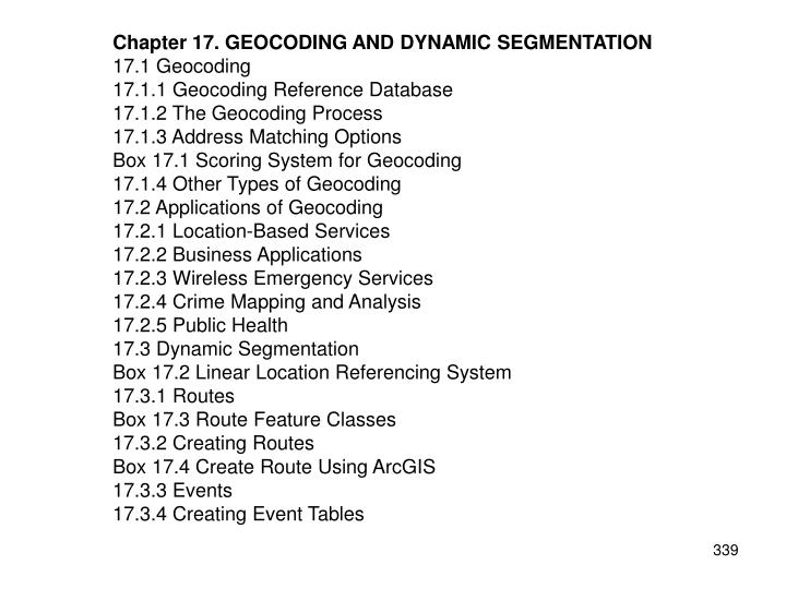 Chapter 17. GEOCODING AND DYNAMIC SEGMENTATION