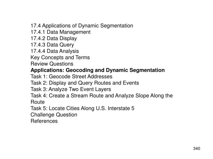 17.4 Applications of Dynamic Segmentation
